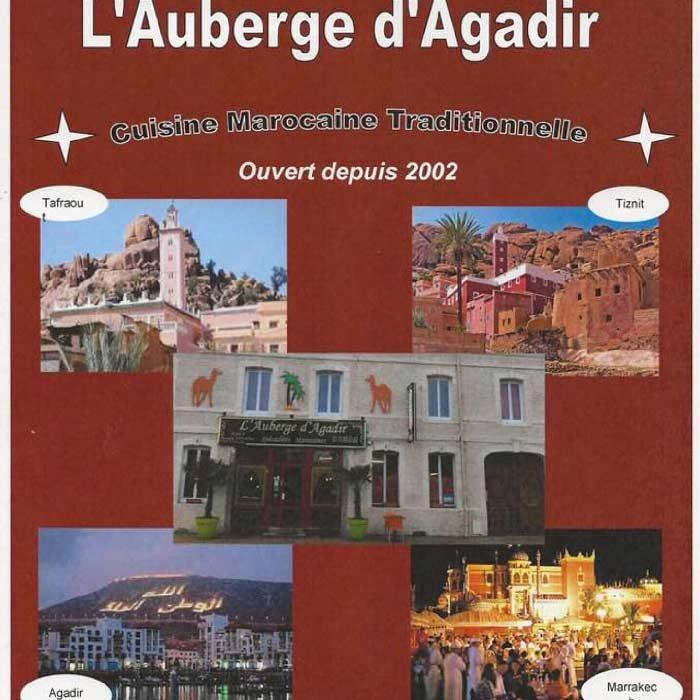 Flyer restaurant l'Auberge Agadir à Ferrières-en-Bray cuisine du monde