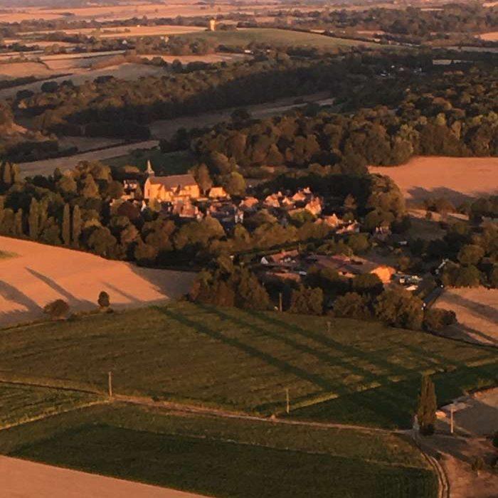 Champs vue depuis une montgolfière Airshow à Haudivilliers Loisirs